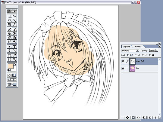 anime tutorial: fig 9: line art layer set to multiply